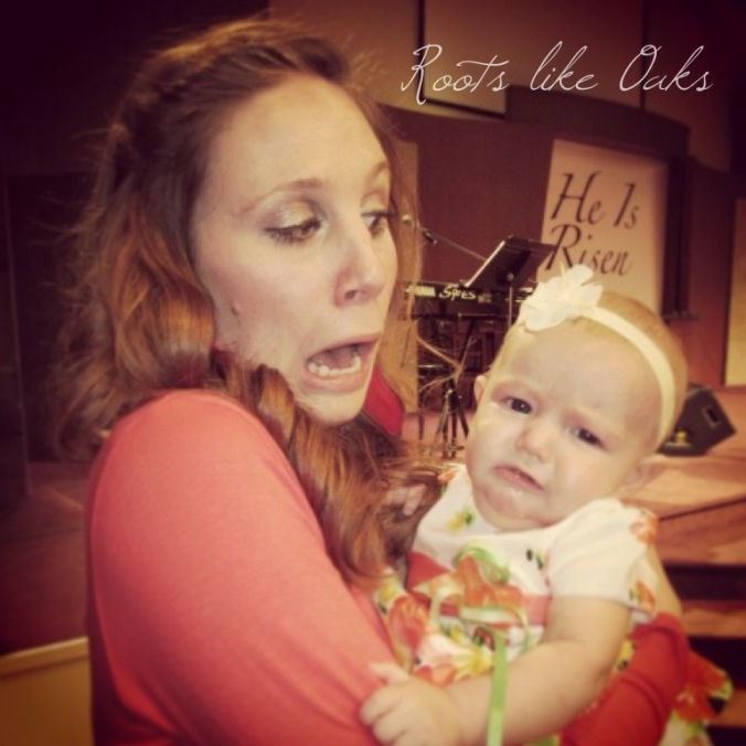 This is me with that sweet baby on Easter. She's really not fussy; this was posed. Maybe not really...